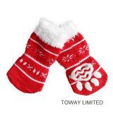 反スキッドの足の印刷の雪のクリスマスペットソックスおよび靴