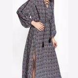 Платье разреза стороны повязки Tassels V-Шеи женщин способа шифоновое напечатанное