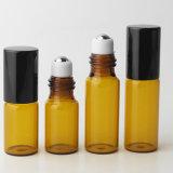 2ml 3ml 5ml kleine bernsteinfarbige Farben-Glasrolle auf Flasche mit schwarzer Schutzkappe für wesentliches Öl-Duftstoff-Duft-Probeflasche-Ansammlung