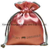 Moda Luxo Promocional Custom Large Black Drawstring Satin Bag
