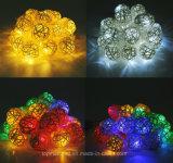 Luzes Multicolor da corda do diodo emissor de luz do algodão das esferas do Rattan do diodo emissor de luz para luzes ao ar livre da corda