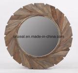 Espelho decorativo em estilo redondo em madeira com espelho decorativo