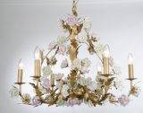 Top Vente fini en laiton en céramique fleur lustre intérieur de luxe pour l'hôtel