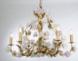 Lampadario a bracci interno di lusso di vendita del fiore di ceramica d'ottone superiore di rifinitura per l'hotel