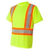 높은 시정 싼 안전 짧은 소매를 가진 사려깊은 테이프 t-셔츠