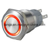 interruptor de pulsador momentáneo del acero inoxidable del metal LED de 19m m (L19A)