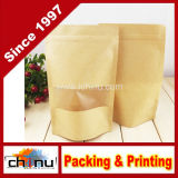 Alimento Grade Aluminum Foil Side Gusset Kraft Bag con Window (220080)