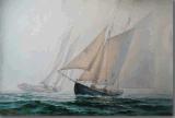 Peinture à l'huile de voile dans la mer