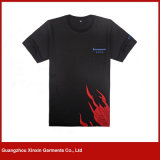 Tshirts pretos feitos sob encomenda da luva do Short do algodão da alta qualidade (R193)