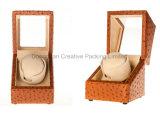 メンズウォッチのための贅沢なだちょうPUの革腕時計の巻取り機