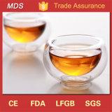 Alta calidad transparente a granel Doble Disparo de pared de vidrio taza de té