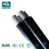 3 Kern ABC-Kabel-Al-Leiter Kurbelgehäuse-Belüftung/XLPE/PET IsolierTriplex Quadruplex Service-Absinken-obenliegend zusammengerolltes Duplexluftkabel