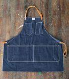 Avental feito sob encomenda de denim de alta qualidade com alça de couro