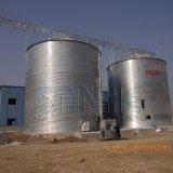 Montar o silo galvanizado do armazenamento do milho
