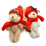Orso dell'orsacchiotto con i fascini del sacchetto della catena chiave degli occhiali da sole di Red Hat