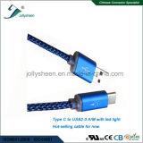 Datilografar o macho de C a USB 2.0 Male Dados e Charging Cabo com nylon e luz do diodo emissor de luz