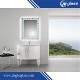 Espelho de limpeza com espelho LED de seda sem moldura com almofada anti-neblina