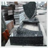 Monumento nero della pietra tombale del granito con cuore