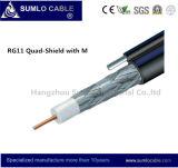 Alta calidad de cable coaxial RG11 Quad-Shield Self-Support Messeger, alambre de acero galvanizado opcional (RG11-F1160SSV/SSVM)