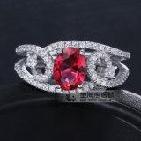 De Juwelen van het patience Dame Ruby Gemstones 925 de Ring van de Zilveren bruiloft