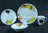Vaisselle de porcelaine réglée avec le modèle de fruit, ensemble de 16