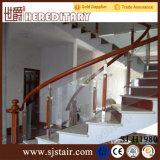 Балюстрада нержавеющей стали самомоднейшей конструкции деревянная стеклянная в частях лестницы (SJ-S085)