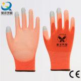 Gant en nylon de travail de sûreté d'écran tactile de doigt enduit par unité centrale de doublure de 13 mesures (PU2007)