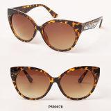 Óculos de sol plásticos de Cateye das mulheres novas da forma de Eyewear com Giltter