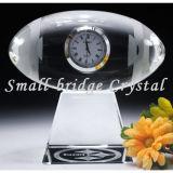El Rugby de cristal Reloj de mesa/Crystal latina el fútbol (BJ0057)