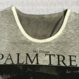 Summer Palm Printing Burnout T-Shirt em Man Sport Knitwear Fw-8671