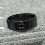 Anillo fresco del Batman del negro del acero inoxidable 316L de las muchachas 8m m de los muchachos