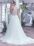 Vestido de casamento S17131 da praia das cintas de espaguete de Tulle do vestido nupcial do laço