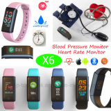 Bracelet intelligent de Bluetooth d'étalage coloré imperméable à l'eau avec la fréquence cardiaque X6