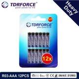 1,5 V de la Chine usine Prix de gros de la batterie au carbone-zinc (R6-AA 12pcs)