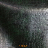 Couro de Microfiber do teste padrão de Snakeskin para o Upholstery do sofá (1609#)