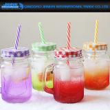 De kleurrijke Kruik van de Metselaar van de Nevel van de Fles van het Glas met het Deksel van het Handvat en van het Metaal