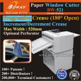 El arrugar de papel de la endecha de 180 grados del pliegue progresivo plano abierto del libro y cortadora de la ventana