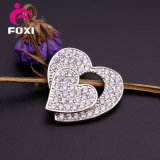 Shining Gemstone Silver Heart Shape Pendants Charm for Girls