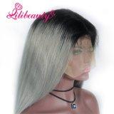 Perruque droite de cheveux humains de lacet de la perruque 1b/Grey de couleur d'Ombre de cheveu de beauté de Lili la pleine avec le noir foncé enracine la perruque de cheveu de Remy de Brésilien de 100%