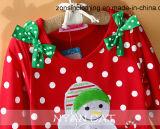 Ropa de los niños de la alineada de las muchachas coloridas de la Navidad con los arqueamientos en dos hombros