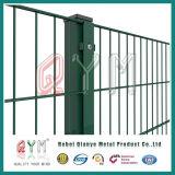 周囲の塀の緑のビニールによって塗られる溶接された金網の塀