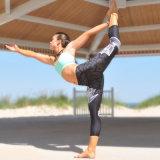 Pantaloni delle ghette di yoga di ginnastica di sport del nero di stampa di Digitahi (3033)