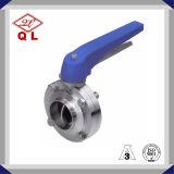 Санитарная клапан-бабочка Multiposition нержавеющей стали с голубой ручкой пуска