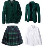 OEM 블레이저 코트 또는 치마 또는 카디건 또는 셔츠 주문 진한 녹색 교복