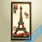 Novo Estilo de um edifício histórico da cidade de Paris Torre Eiffel pintura mural