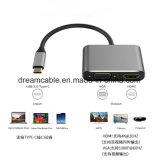Сплава алюминия серебристого цвета 2 в 1 USB C VGA многопортовый адаптер HDMI VGA Разрешение 4K