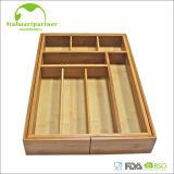 Organizador ensanchable de bambú del cajón de la bandeja de la cuchillería de la cocina con el MDF
