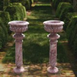Urna del marmo del giardino intagliata mano per il fiore e la pianta