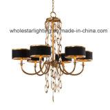 Moderno candelabro de tela con cristales colgantes (WHG-536)