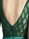 Langes Kleid zurück zeichnen Satin-Fußboden-Längen-formales Abschlussball-Kleid
